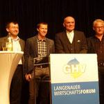 (Von rechts nach links) Bernhard Mack, Ulf D. Posé, Harald Ostermeir, Gerhard Häge, Bürgermeister Wolfgang Mangold