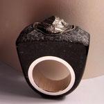 schwarzer Granit / Pyrit