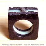 schwarzer Granit / Jade GR CH / Silber / Rohdiamant
