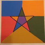 Pentagramm Bunt auf Malplatte 30x30