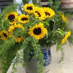 Sonnenblumen und Lärchenzweige