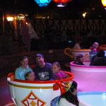 Getting dizzy on the teacups - Daddy is a good spinner