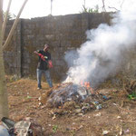 burning trash and weeds
