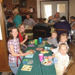 Celebrating Easter dinner at Uncle Bruce & Aunt Michelle's farm in Kansas