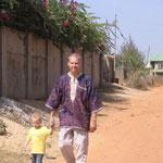 Dad and Elijah walking the streets of Kaduna