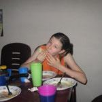 Enjoying a birthday meal in Aba