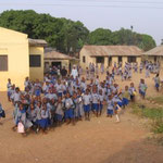 Children at school between Kaduna and Abuja.  They saw us in the bus and ran out to greet us.