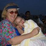Sitting on Grandmas lap at Jones Beach, Long Island 4th of July