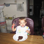 Caleb eating his birthday cake
