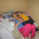 Staying in Maiduguri: We all slept on mattresses on the floor of one room. Emily was cuddling with Hannah one night.