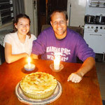 Celebrating Eric's 39th and Hannah's 17th birthdays with mango pie!