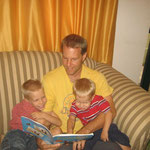 Eric reading to the boys in Gboko