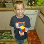Caleb solves the Rubik's Cube for the 1st time