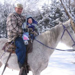 Riding a horse with Uncle Bruce