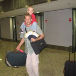 getting around the airport with five children and 10 bags