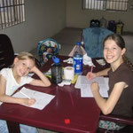 Doing school at our apartment in Aba