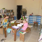 The older 3 girs share a large bedroom that only has access from the outside. But it has its own bathroom and provides a very quiet, comfortable place for them to do their schoolwork.