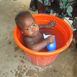 """Gift"" is the baby of one of our students. She is cooling off in a bucket"