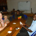 having a game name with students & staff at the school