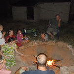 Having a campfire with marshmallows on our compound(yum)