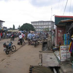 many motorcycle taxis wait here for customers