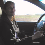 Cindy driving the missionary van that our Church loaned to us