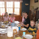 Breakfast at the Erdvigs house on Long Island