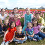 At a tulip field with the Lees