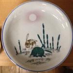 吹き墨印判皿月とうさぎ  径19cm¥4,000(5枚あり/¥20,000/希少)