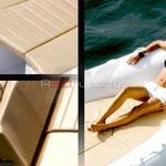 Embarcación dotada con colchonetas y solarium en proa