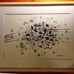 タイトル「ミュージックシャワー」 額入りサイズ 65×50cm 35000円
