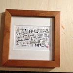 タイトル「森へお散歩」原画サイズ 15×10cm 額入8000円