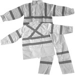 Model TJ1970-T5 White Polyester Rain-Set with Reflective Straps