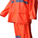 Model #7810HV-O Hi-Viz Rain-Coat  (170T Polyester/PVC) in Fluorescent Orange