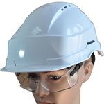 Model #110 Ventilated ABS Safety Helmet with Model #510 Spectacles