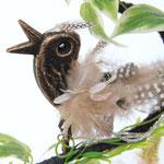 アイアンの小鳥のオブジェに羽をつけておめかしです