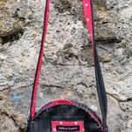 sac rond doublé de tissus rouge à pois blancs