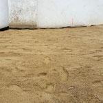Die verlegten Platten verschwinden unter einer dicken Sandschicht.