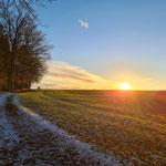 Abendstimmung. Blick in Richtung Bernhardswald (Dezember 2020)