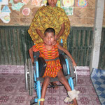 A wheelchair is a significant help for the child and their whole family. In Bangladesh, the disabled often crawl on the ground like animals.