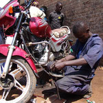 Motorbikes are common, so demand for maintenance and repair is high.