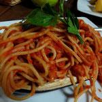 Spaghetti mit Aubergine, überbacken