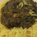 Palak Tarka (Spinat, Zwiebel, Knoblauch, Tomaten, Koriander, indische Gewürze)