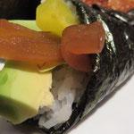 Hier eine Foto-Auswahl unserer üppigen Speisen-Auswahl: Nr. 36: Yasai Temaki vegetarisch (ohne Ei)