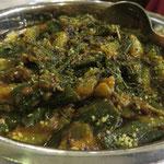 Bhindi (Okragemüse, Zwiebeln, Tomaten, Ingwer, Knoblauch)
