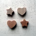 Holz Motivperlen Stern - Herz (Nussbaum - Birnbaum)