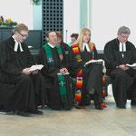 Von links: Prarrer Max v. Egidy, Pfarrerin a.D. Opp aus Lohr, Pfarrerin Gschwender u. Dekan Dr. Breitenbach