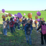 Die Kinder, kurz vor dem Ballonstart