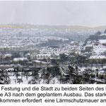 Die Lärmschutzmauer verunstaltet das Landschaftsbild am Katzenberg erheblich