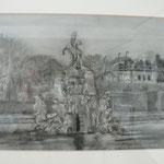 """""""Brunnen im Veitshöchheimer Rokokogarten"""" - eine Kohlezeichnung, mit weißer Kreide aufgehellt"""